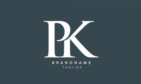 Alphabet letters Initials Monogram logo PK, KP, P and K Logó