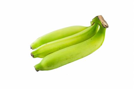flesh colour: Green banana on isolated background Stock Photo