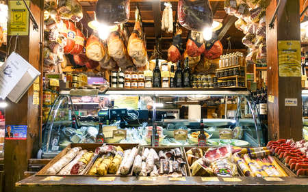 food products: BOLOGNA , ITALY - JANUARY 10 , 2016:Typical traditional Italian food in unidentified shop at Guglielmo Marconi Airport Bologna , Italy. Italian food products are unique and famous all over the world