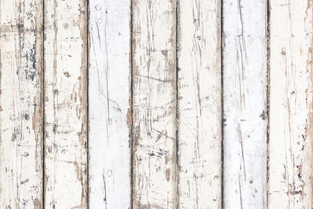 White old wood background vertical stripes - Ivory color painted planks weathered and dirty Stock Photo