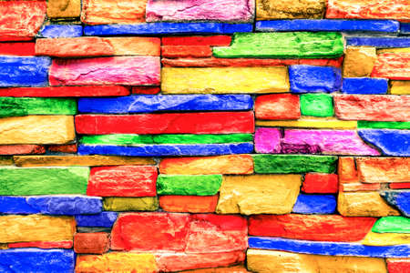 Colorful bricks stone wallpaper background with realistic granite texture - Soft vintage filter look