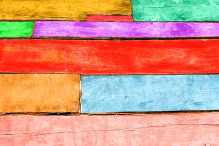 Wood bricks wallpaper background warm colors collection - Colorful old  wooden planks winter fashion tones - Grunge weathered oak board panel close-up view with different wall paint hues Stock Photo - 80090311