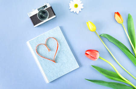 Red heart shape on notepad with  colorful spring flower and vintage camera - Romantic composition on gray background flat lay view from above