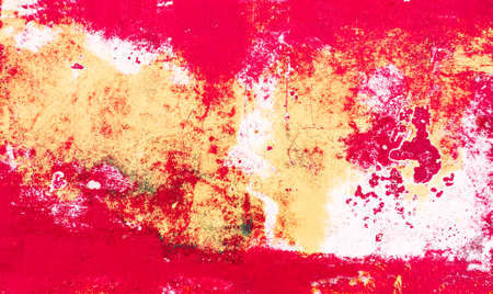 Red grunge background with white brush strokes - Metal backdrop with old paint stains - Image Banco de Imagens