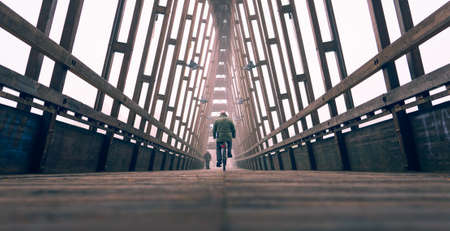 Man with bicycle on bridge - Commuter on bike over urban structure - Perspective of public wooden infrastructure for transit of cyclists and pedestrians - Environmental sustainability concept - Image