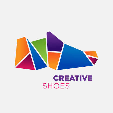 flat shoes: Abstract flat shoes for logo or mascot