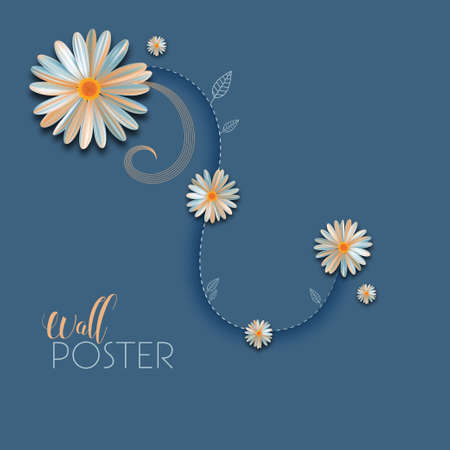 floral wall poster Vector illustration.