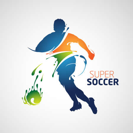Super soccer full color silhouette is suitable for your design. Illustration
