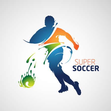 Super voetbal full colour silhouet is geschikt voor uw ontwerp. Vector Illustratie