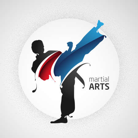 martial arts kick Vectores