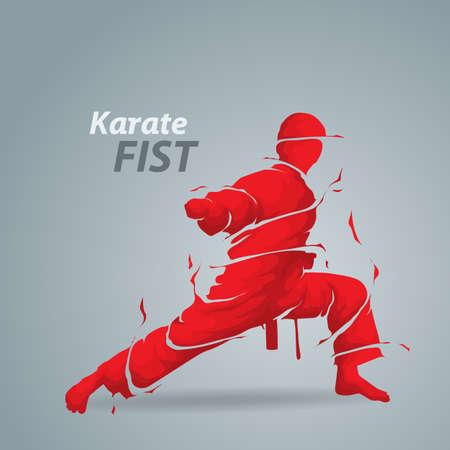 karate fist splash silhouette
