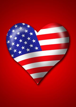 America Flag in heart shape Stock Photo - 1312300