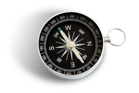 magnetic compass in white background with shadow Stock Photo