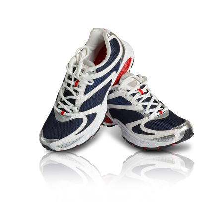 A pair of classy sports shoes in blue and red color