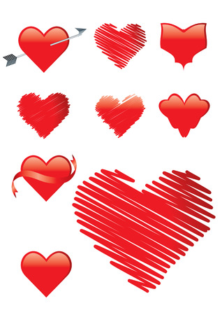 Set of heart shapes including ribbon, brush strokes, scribble, arrow Illustration