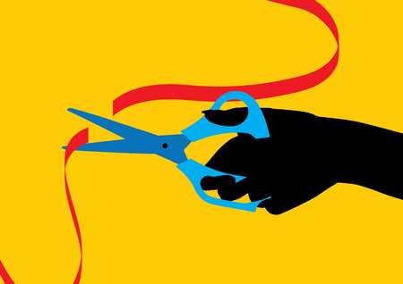 Hand with a scissor cutting a red ribbon - Inauguration concept Vector