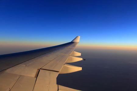 aero: aero plane wing and beautiful evening sky