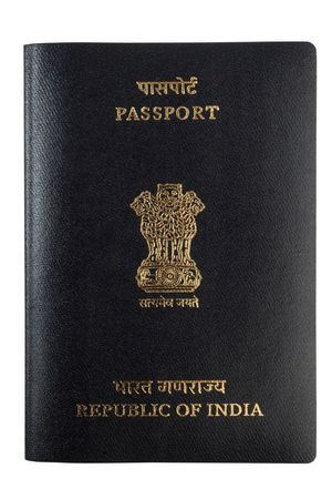 Indian passport isolated on white background Stock Photo