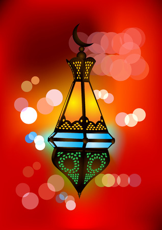 Intricate arabic lamp with beautiful lights in the background Stock Vector - 6748022
