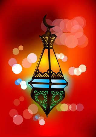 the emirates: L�mpara �rabe intrincada con luces hermosas en segundo plano