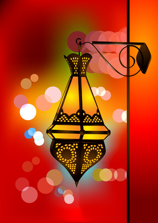 islamic art: Intricate arabic lamp with beautiful lights in the background Illustration