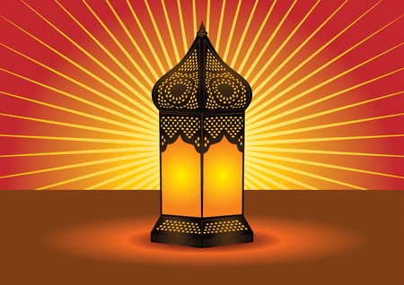 colorful lantern: intricate islamic floor lamp Illustration