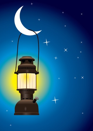 Detailed antique lantern hanging on the moon Vector