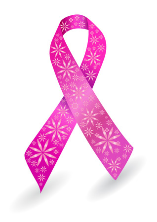 cancer ribbon: Breast cancer ribbon in pink with glitter flowers Illustration