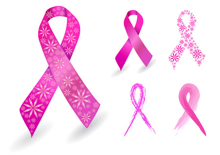 Breast cancer ribbon in pink with glitter flowers Illustration