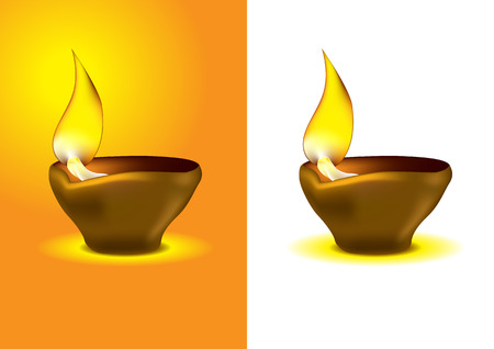 hinduism: Diwali Diya - Oil lamp for dipawali celebration - illustration Illustration