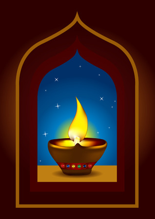 Diwali Diya - Oil lamp for deepawali celebration - illustration Stock Vector - 8095078