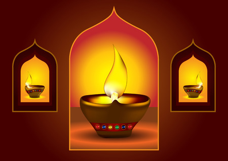 Diwali Diya - Oil lamp for deepawali celebration - illustration Stock Vector - 8095084