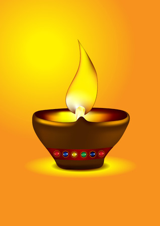 Diwali Diya - Oil lamp for dipawali celebration - illustration Stock Vector - 8095082