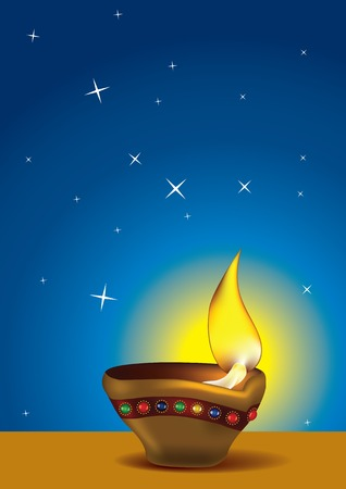 Diwali Diya - Oil lamp for deepawali celebration - illustration Vector