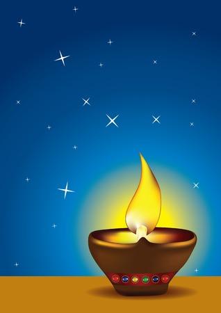 Diwali Diya - Oil lamp for deepawali celebration - illustration