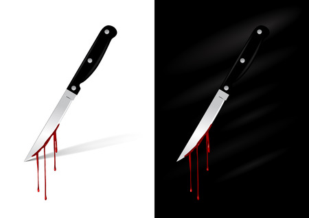 violencia familiar: Cuchillo de cocina con sangre - ilustraci�n
