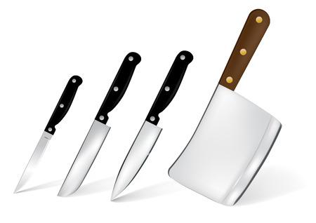 macellaio: Set di 4 illustrazione di coltello cucina in acciaio inox