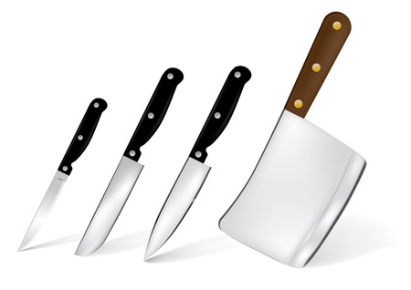 stainless steel kitchen: Set of 4 stainless steel kitchen knife illustration