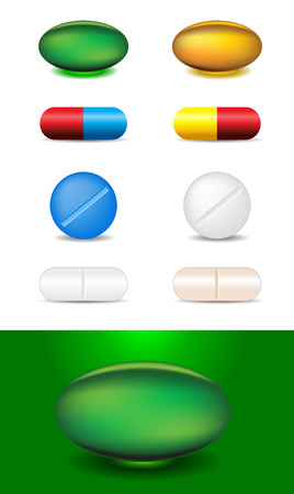 blue pills: set of different capsules and medicines