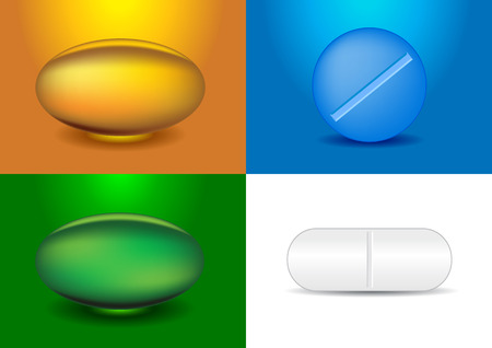doses: set of different capsules and medicines