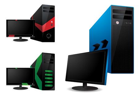 Computer and lcd monitor  Vector