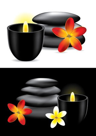 massage stones: Spa hot stones, flower and candle   Illustration