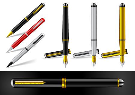 fontana: Penna stilografica e la penna a sfera Vettoriali