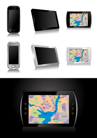 gps navigator: GPS device - global positioning system vector illustration Illustration