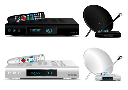Set top box and dish antenna vector illustration Vector