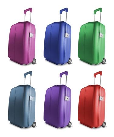 suitcases: Verschillende gekleurde koffers geïsoleerd op witte achtergrond