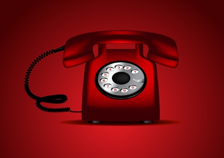 Red retro telephone Illustration Stock Vector - 9502672