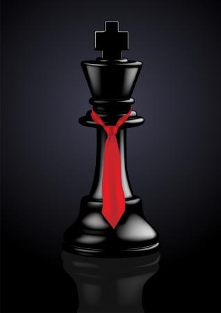 strategie: Schach Schwarz King mit Krawatte - Vektor-Illustration