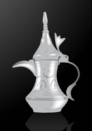arabic coffee: Middle Eastern Arabic Coffee Pot - Vector Illustration