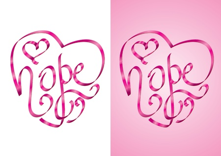 Hope - Heart shape calligraphy with ribbon Stock Vector - 10491871